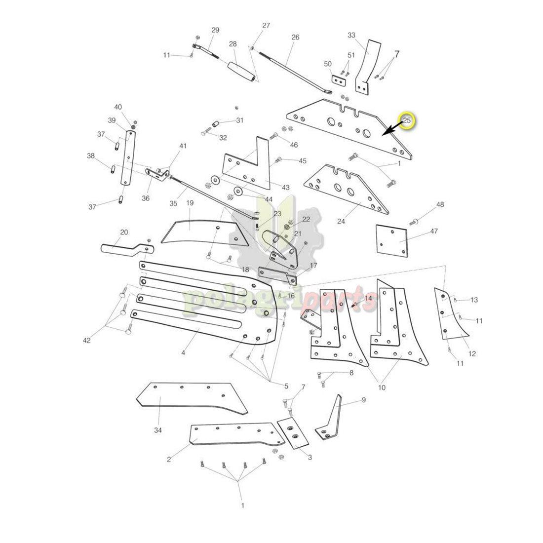 Płoza długa obracalna Kverneland 073609 prawa i lewa